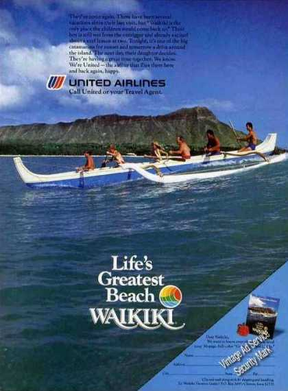 Waikiki Beach Outrigger Canoe United Airlines (1984)