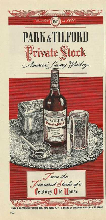 Park & Tilford Private Stock Whiskey Print (1946)