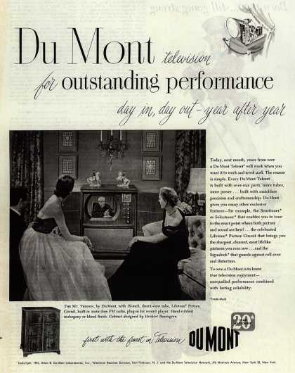 Allen B. DuMont Laboratorie's The DuMont Mt. Vernon – DuMont television for outstanding performance day in, day out-year after year (1951)