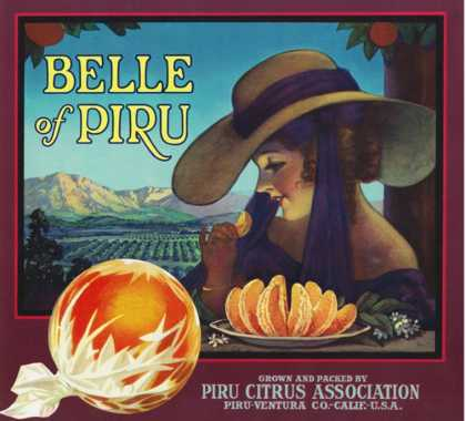Piru, California, Belle of Piru Brand Citrus Label