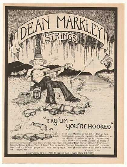 Dean Markley Strings Man Guitar Fishing art (1976)