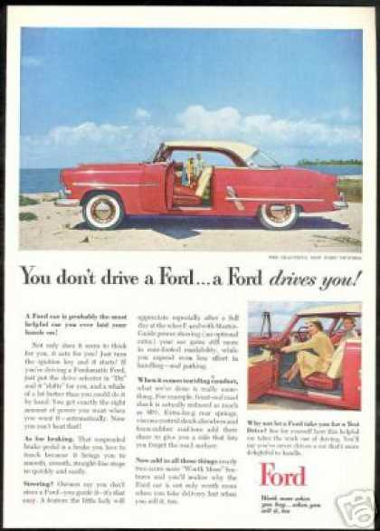 Red & White Ford Victoria 2dr Car Photo Vintage (1953)