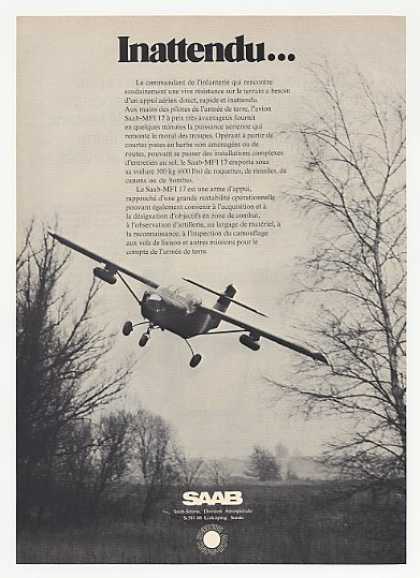 Saab MFI 17 Airplane in Flight Photo French (1972)