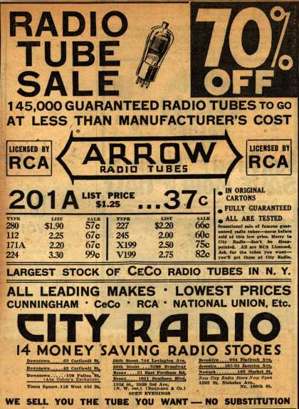 Arrow Radio Tube's Radio Tubes – Radio Tube Sale 70% Off (1931)