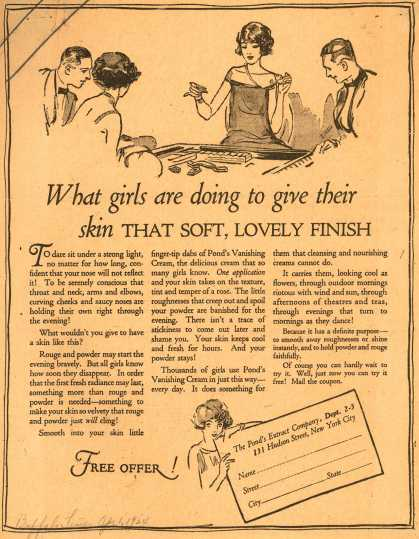 Pond's Extract Co.'s Pond's Vanishing Cream – What girls are doing to give their skin That Soft, Lovely Finish (1924)
