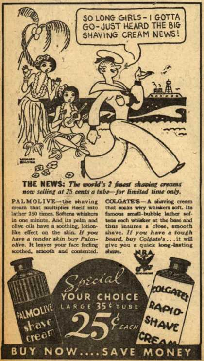 Peet Co.'s Palmolive and Colgate's Shave Creams – So Long Girls- I Gotta Go- Just Heard The Big Shaving Cream News (1933)