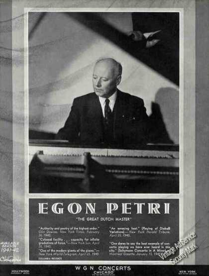Egon Petri Photo Dutch Pianist Booking (1941)
