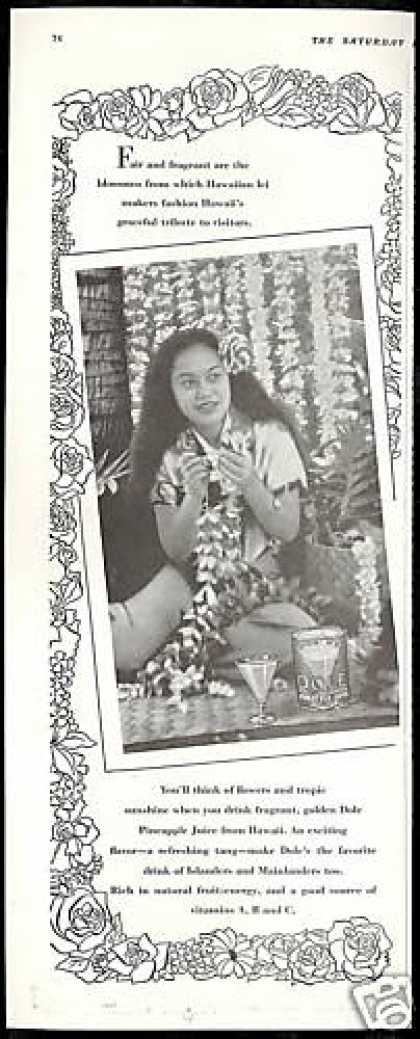 Hawaii Lei Maker Photo Dole Pineapple Juice (1939)