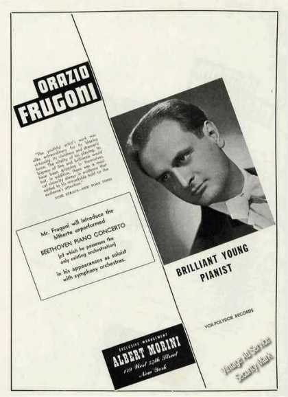 Orazio Frugoni Photo Pianist Booking (1949)