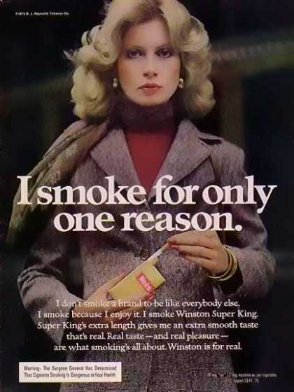 Winston – Women of Winston Cigarette – I smoke for one reason (1974)