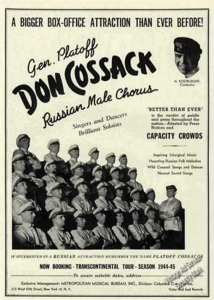 Gen. Platoff Don Cossack Russian Male Chorus (1944)