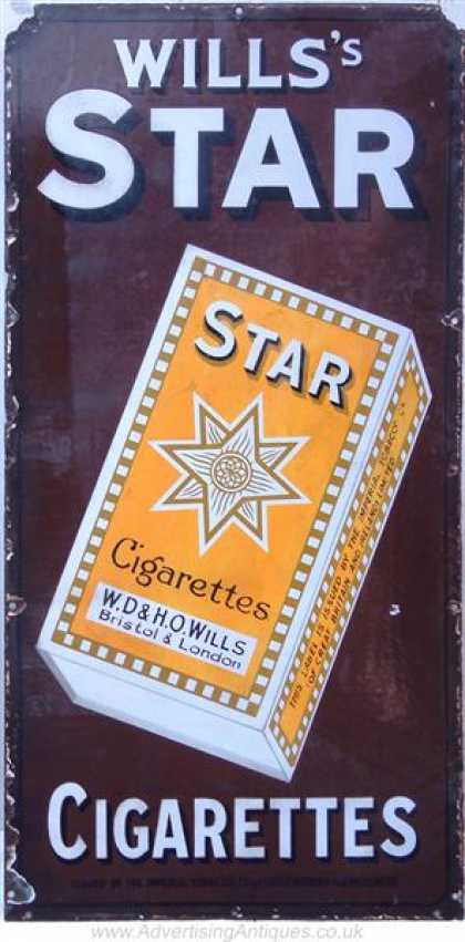 Wills's Star Cigarettes Enamel Sign