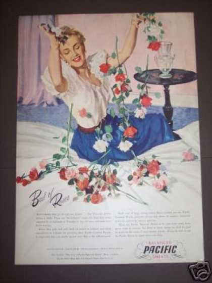 's Bed of Roses Art Pacific Sheets (1940)