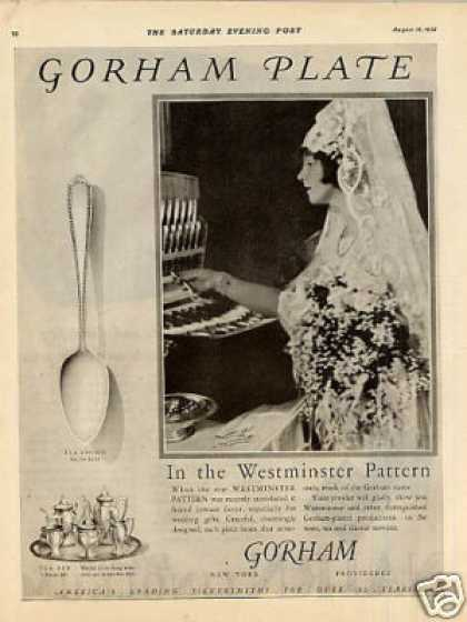 Gorham Silverplate Ad Westminster Pattern (1925)