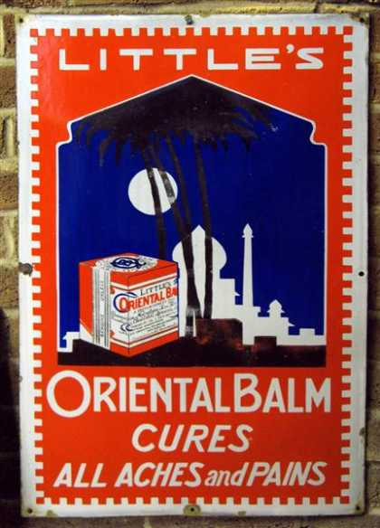 Old Little's Cough Cure Oriental Balsm Enamel Sign