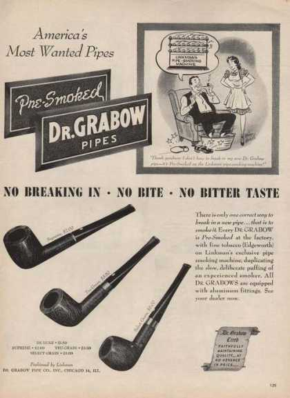 Dr Grabow Pipes No Bitter Taste (1946)