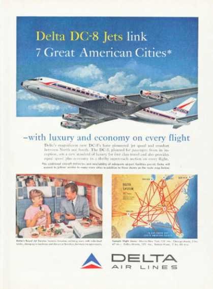 Delta Airlines Dc-8 Jet Airplane (1959)
