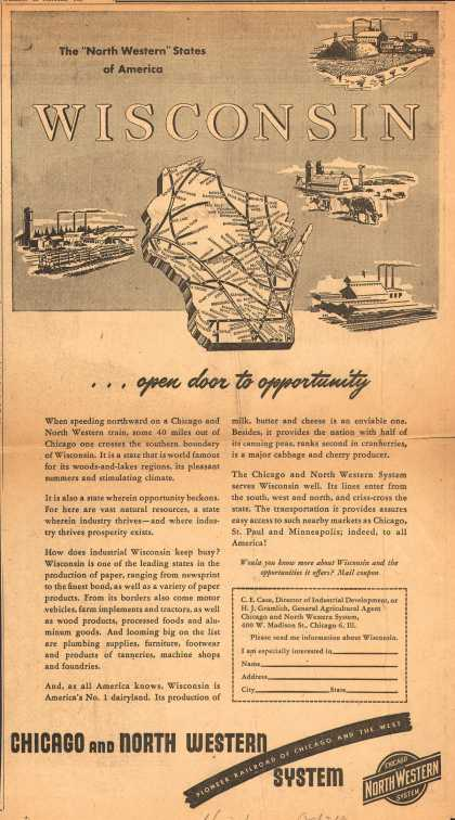 Chicago and North Western System's Chicago & North Western – WISCONSIN...open door to opportunity (1947)