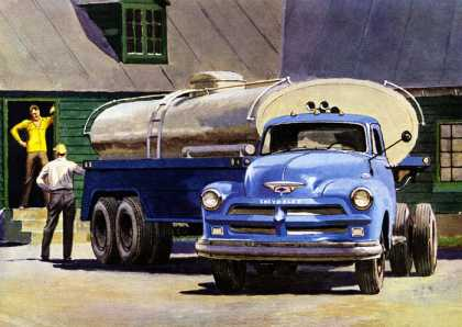 Chevrolet trucks make a gallon seem bigger (1954)