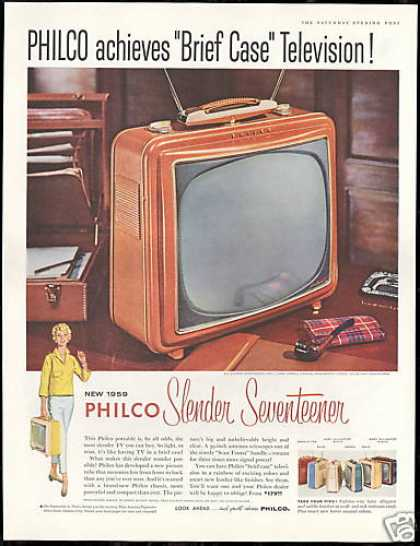 Philco Slender Seventeen TV Television Colors (1958)
