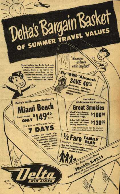 Delta Airline's Summer Travel Values – Delta's Bargain Basket of Summer Travel Values (1950)