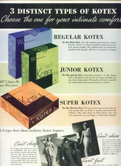Kotex Regular Junior Super Color Ad Art Deco Style (1936)
