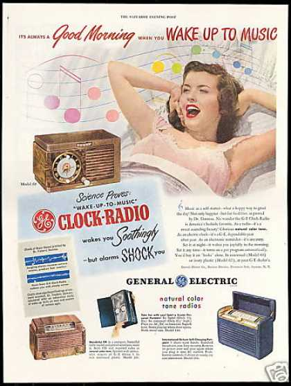 GE Clock Radio Wakes You Soothingly Healthier (1948)