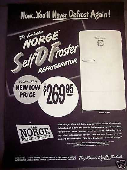 Norge Self Defrost Refrigerator (1949)