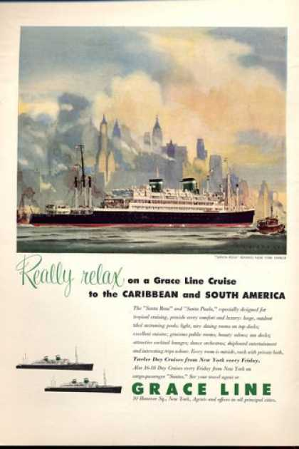 Grace Line Cruise Santa Rosa New York (1952)