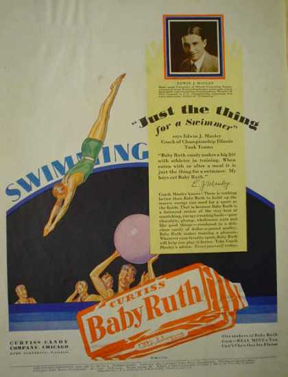 Curtiss Baby Ruth Candy Bar Swimmer Edwin Manley (1929)