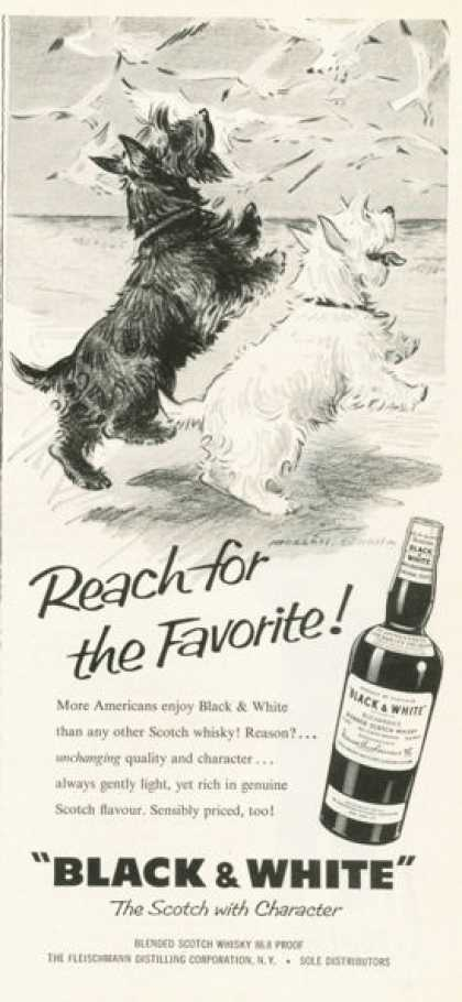 Black & White Scotch Ad Reach for the Favorite (1959)