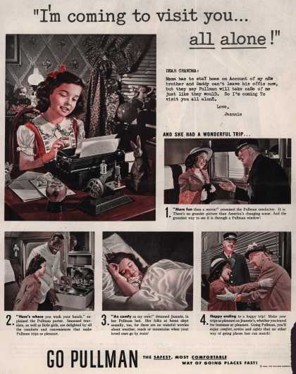 """Pullman Company – """"I'm coming to visit you... all alone!"""" (1946)"""
