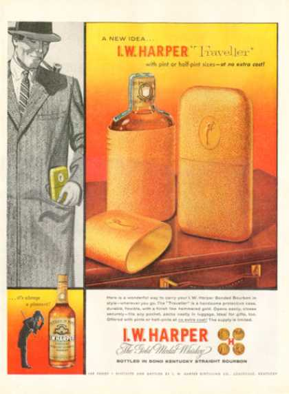 I.w.harper Whiskey Ad Featuring the Traveller Pint (1956)