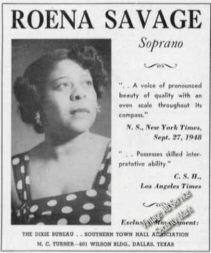 Roena Savage Photo Soprano Rare (1950)