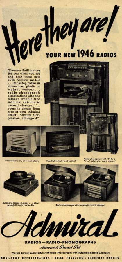 Admiral Radio's Radio – Here they Are! Your new 1946 Radios (1945)