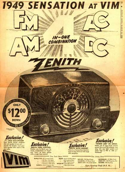 Zenith Radio Corporation's FM-AM, AC-DC 4-in-one Combination – 1949 Sensation at Vim (1949)