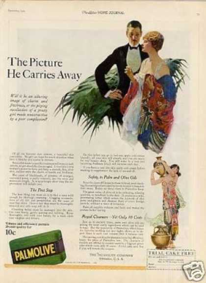"Palmolive Soap Color Ad ""The Picture He Carries... (1921)"