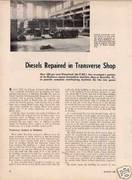 """Diesels Repaired In Tranverse Shop"" C&ei/oaklawn (1950)"