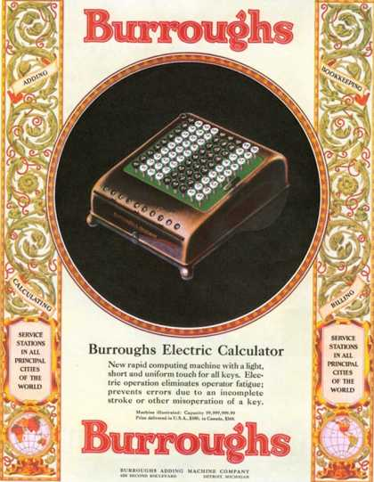 Equipment Burroughs, Adding Machines, Accountants, USA (1920)