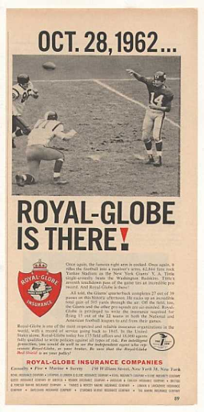 NY Giants Y A Tittle Beats Redskins Royal-Globe (1963)