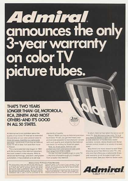 Admiral Color TV Picture Tube 3 Year Warranty (1968)