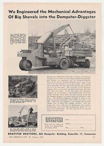 Dempster Diggster Tractor 3 Models Photo (1952)