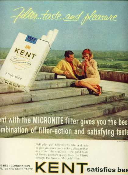 Kent Cigarettes Handsome Couple Smoking (1963)
