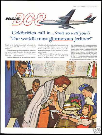 Douglas DC-8 DC8 Airplane Stewardess Celebrity (1960)