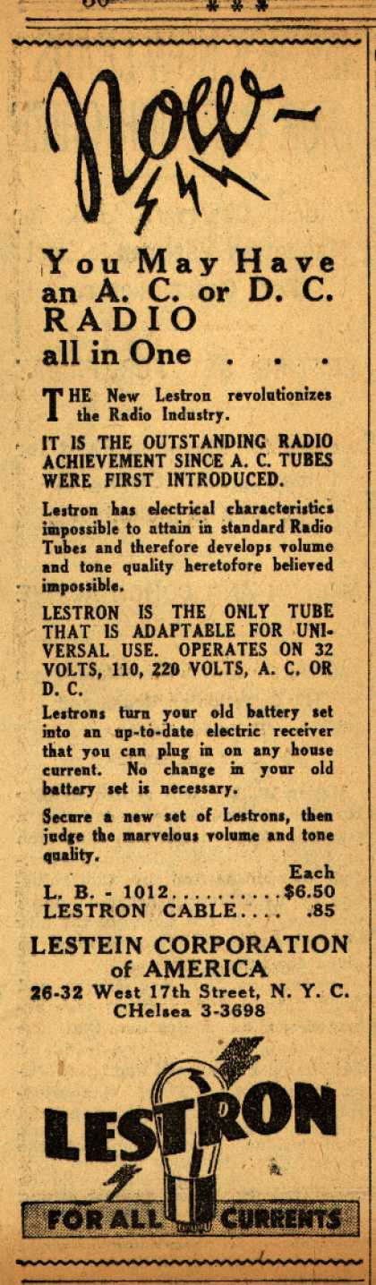 Lestein Corporation of America's Radio Tubes – Now – You May Have an A.C. or D.C. RADIO all in One... (1931)