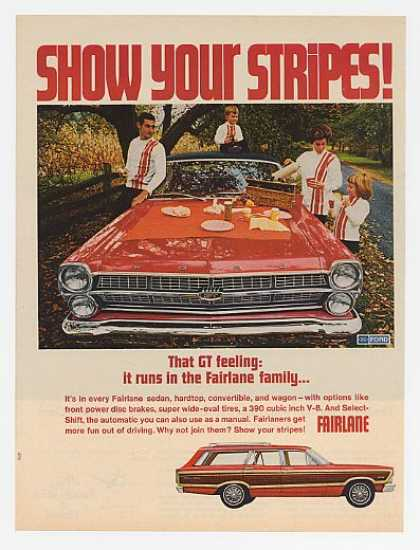 Red Ford Fairlane GT Show Stripes Family Picnic (1967)