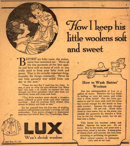 Lever Bros.'s Lux (laundry flakes) – How I keep his little woolens soft and sweet (1918)