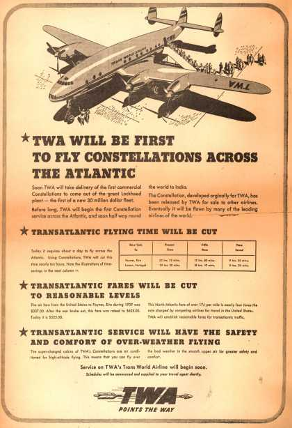 Trans World Airline's Constellations – TWA Will Be First To Fly Constellations Across The Atlantic (1945)