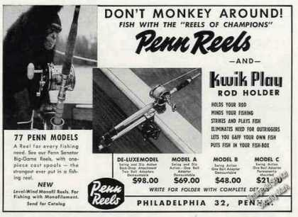 Penn Reels & Kwik Play Rod Holder Photos (1956)