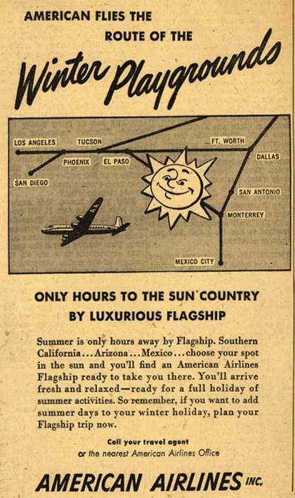American Airline's Sun Country – American Flies The Route Of The Winter Playgrounds (1950)